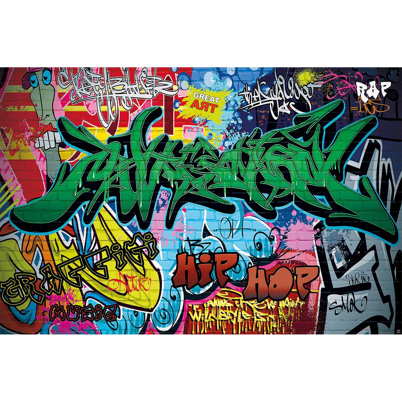 Tags Jungen M/ädchen Jugendzimmer Deko Wandbild Urban Street Style Schriftz/üge Wandposter Fotoposter Motiv GREAT ART XXL Poster 140 x 100 cm Graffiti Wand