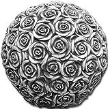 gartendekoparadies.de Großes, schönes Dekorationselement Kugel Motiv: Rosen aus Steinguss, frostfest
