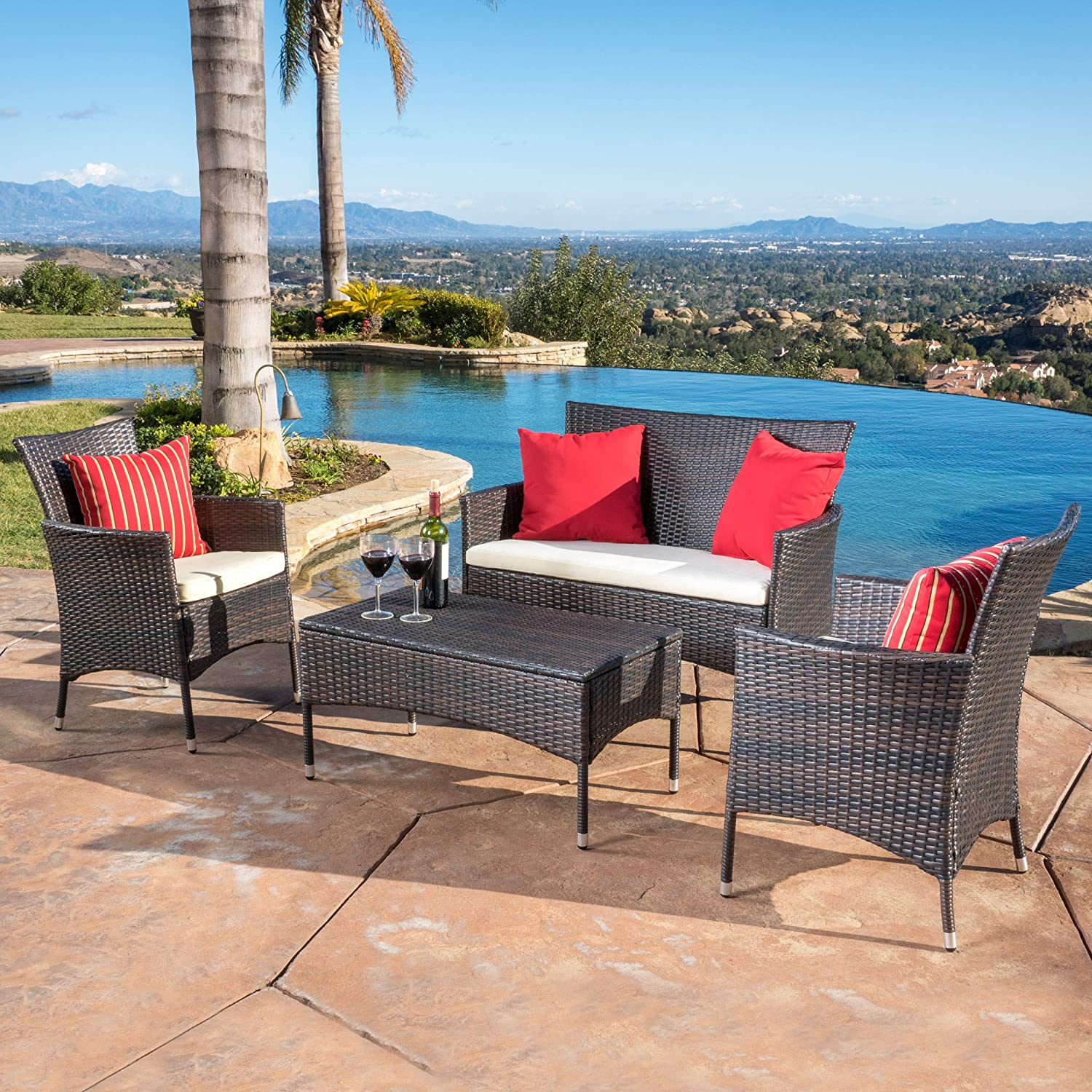 Great Deal Furniture Olivera Outdoor 4-Piece Multi-Brown Wicker Chat Set with Cushions