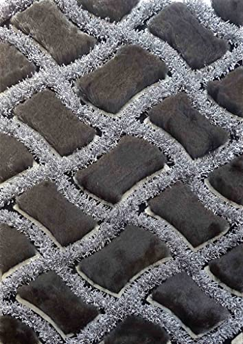 Shag Design Collection Viscose Design Collection Shag Area Rug, 5 by 7-Feet, 75 Black