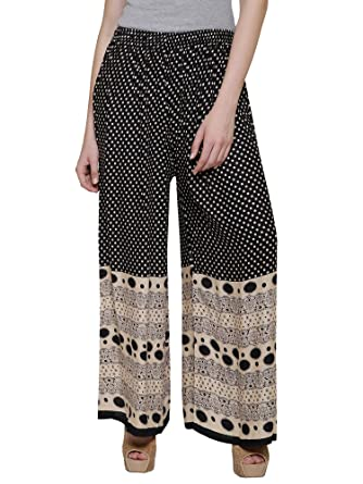 5d8d152c5394 DAMEN MODE Polka Dots Printed Rayon Palazzo (BLACK)  Amazon.in ...