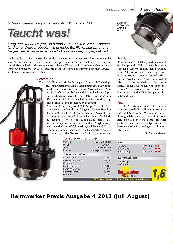 T.I.P 30168 Pompe professionnelle submersible pour eaux us/ées Extrema 400//11 Pro avec raccord de 2