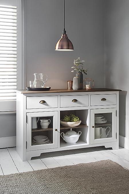 Mueble aparador con oscuro pino y blanco Canterbury armario de baño ...