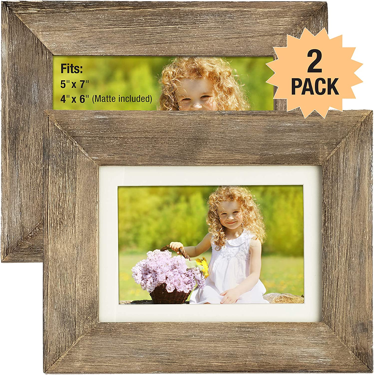 Rustic Barnwood Picture Frame Set: Fits 5x7 or 4x6 Photos with Included Matte Photo Frames Holder for Wall Desktop or Tabletop Display. Thick Weathered Gray Wood Home Decor. (Pack of 2)