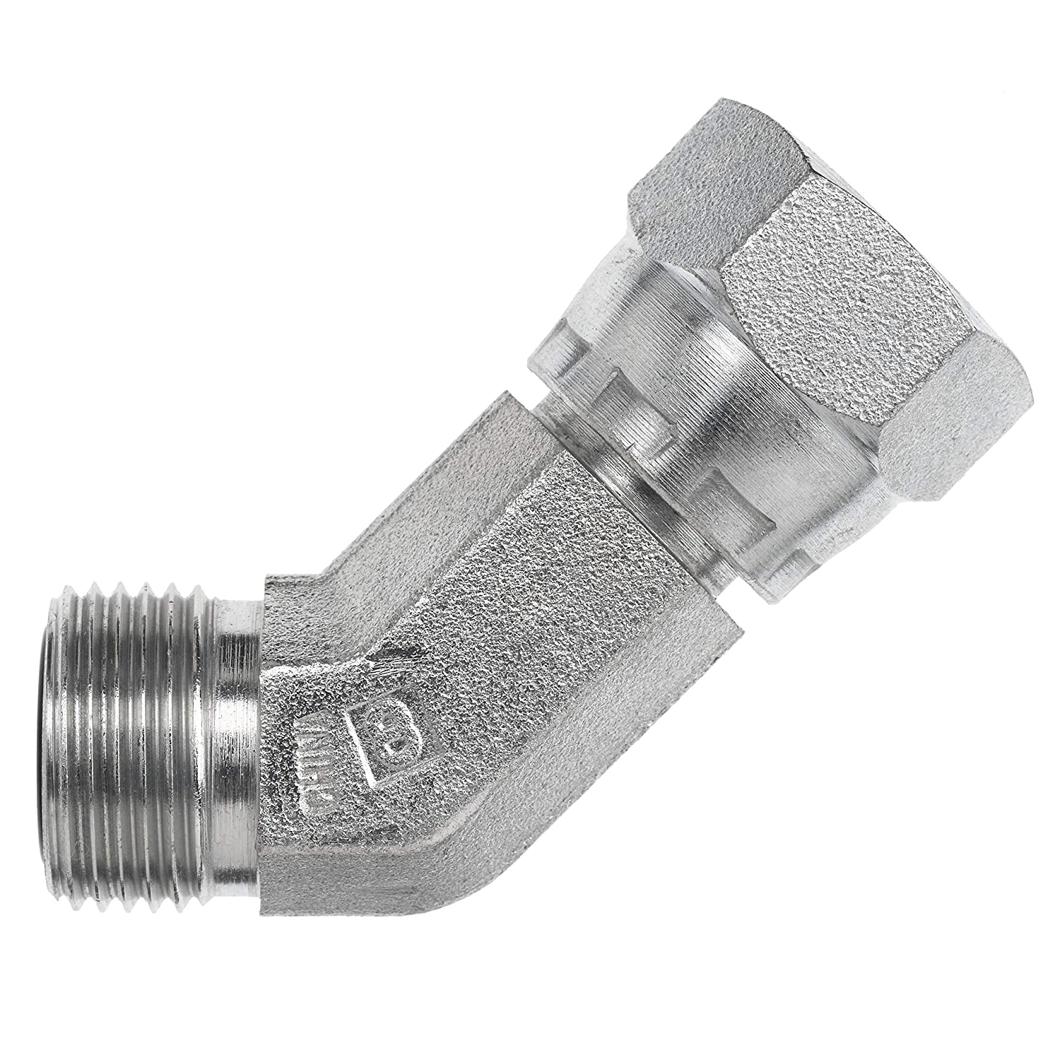 1-14 NPT x 1//14 NPT Thread 5//8 Male Face Seal x 5//8 Female Face Seal Swivel Brennan Industries FS6502-10-10-FG Forged Steel 45 Degree Elbow O-Ring Face Seal Fitting