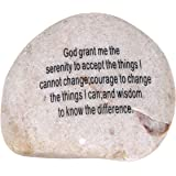 Extra Large Engraved Inspirational Serenity Prayer and Cross double sides engraved Stone ( 4 - 4.5 Inches ) from the Holy Land