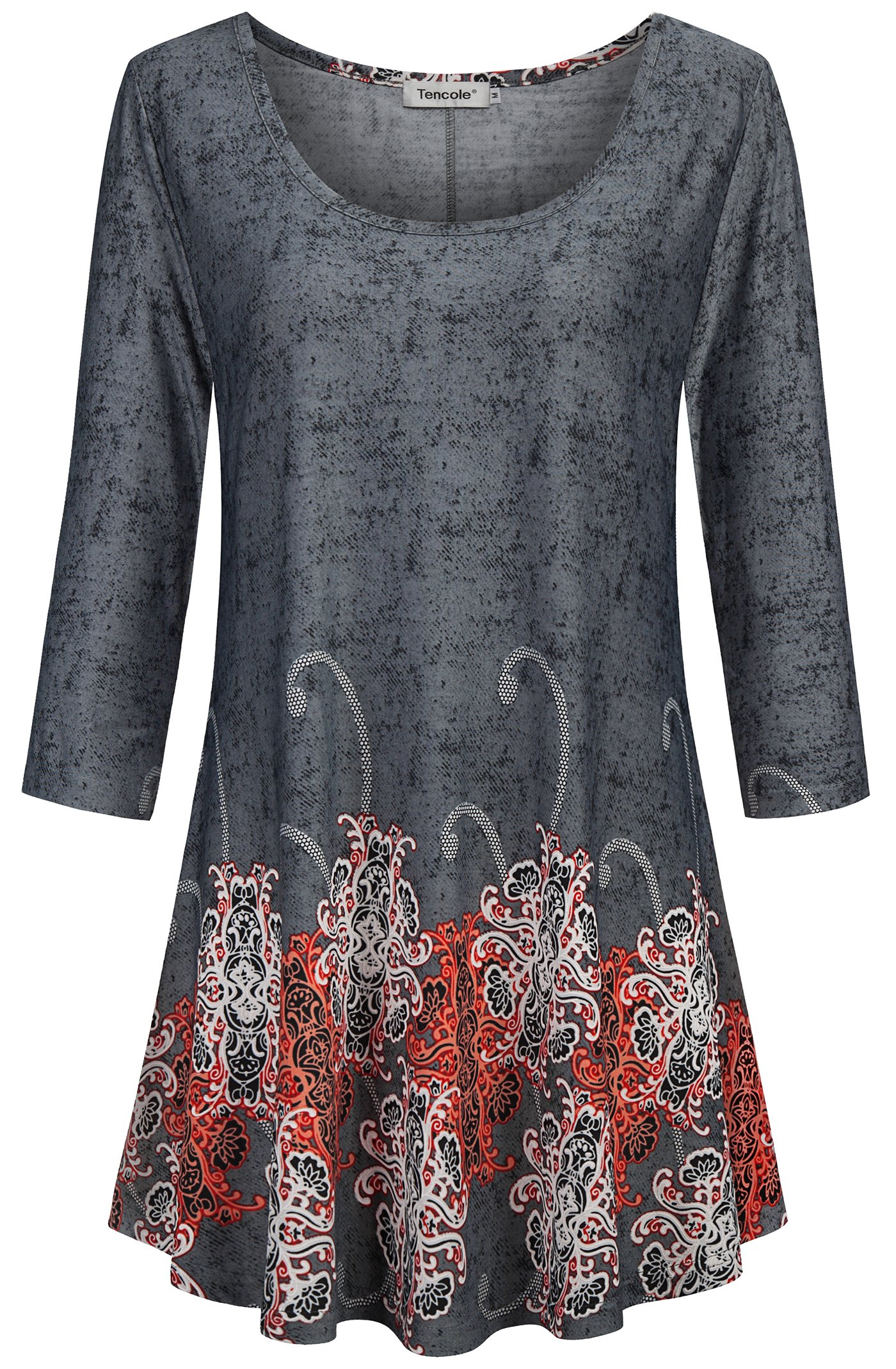 Tencole Tunic Shirts for Women, Lady Elegant Sexy Dressy Tops for Women Round Neck Bohemian Tops for Fall Large