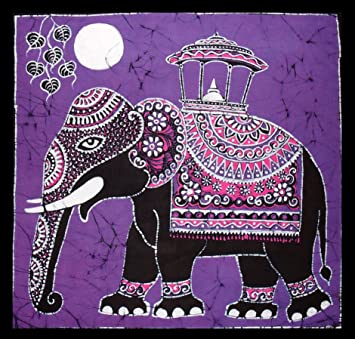 Batik painting of elephant walking across grassy savannah in