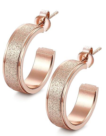 Jstyle Joyas de Acero Inoxidable Pendientes Mujer Aro de Oro Rosa Diámetro 20 MM