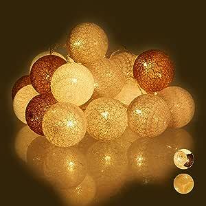 Relaxdays Guirnalda Luces con 20 Bolas LED a Pilas, Algodón-Poliestireno, Blanco-Gris-marrón, 6 cm de diámetro: Amazon.es: Hogar