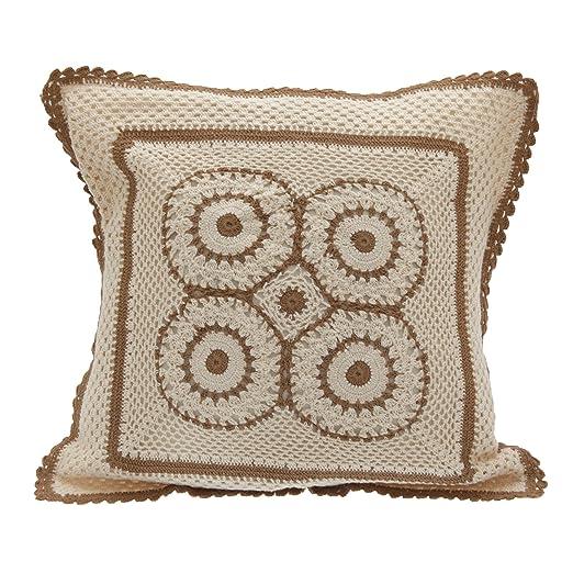 Funda cojín algodón estampado Crochet Hecho a mano (40x40cm ...