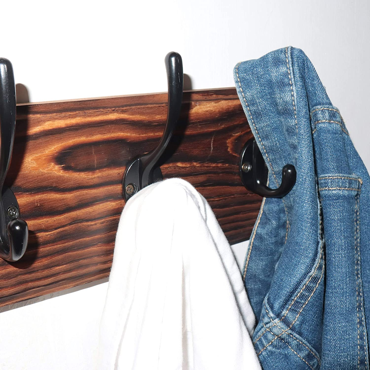 Black Heavy Duty Wooden Wall Coat Hanger for Clothes Hat Jacket Clothing Dseap Coat Rack Wall Mounted with 5 Coat Hooks
