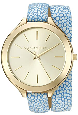 f85c1cda60db3 Image Unavailable. Image not available for. Color  Michael Kors Women s Slim  Runway Blue Watch MK2478