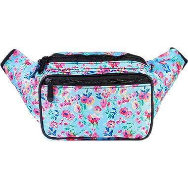 SoJourner Floral Fanny Pack - Cute Packs for men, women festivals raves | Waist Bag Fashion Belt Bags (blue)