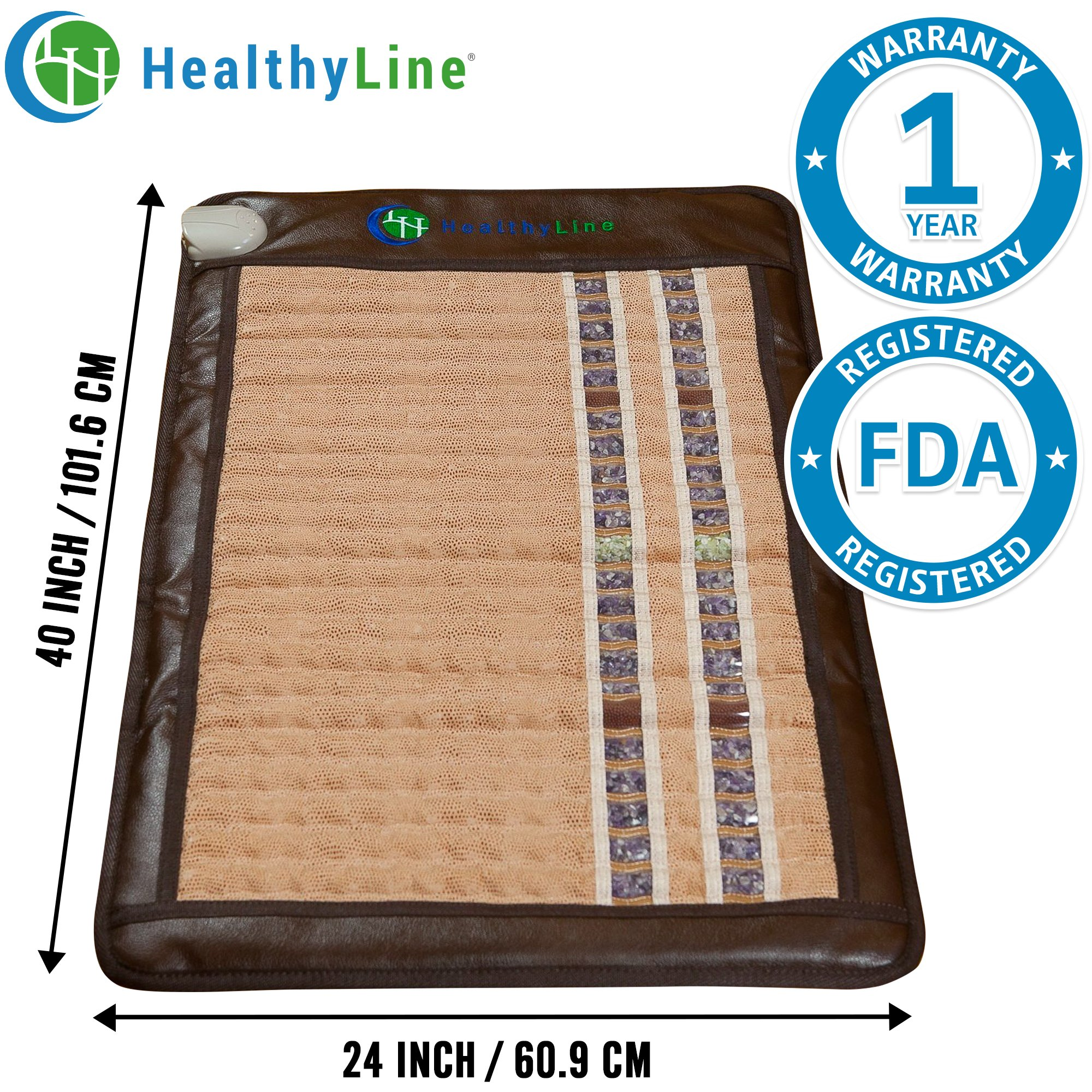 HealthyLine Infrared Heating Mat / Blanket (Soft & Flexible)|TAJ, Natural Amethyst, Jade & Tourmaline Ceramic, (Medium Size) 40″ x 24″ |Relieve Pain, Sore Muscles |​​US FDA Registered by HealthyLine