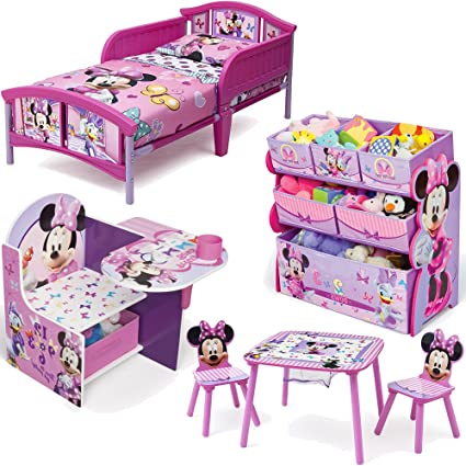 Disney Delta Children Minnie Mouse 6 Piece Furniture Set   Plastic Toddler  Bed, Table