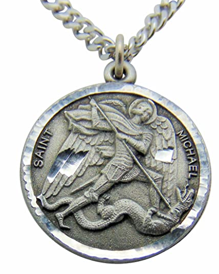 saint michael round pewter medal pendant 1 inch on 24 inch stainless