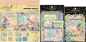 Graphic 45 Fairie Wings - 8x8 Fairy-Themed Paper Pad, Cardstock Die-cuts, Ephemera with Storage Pocket