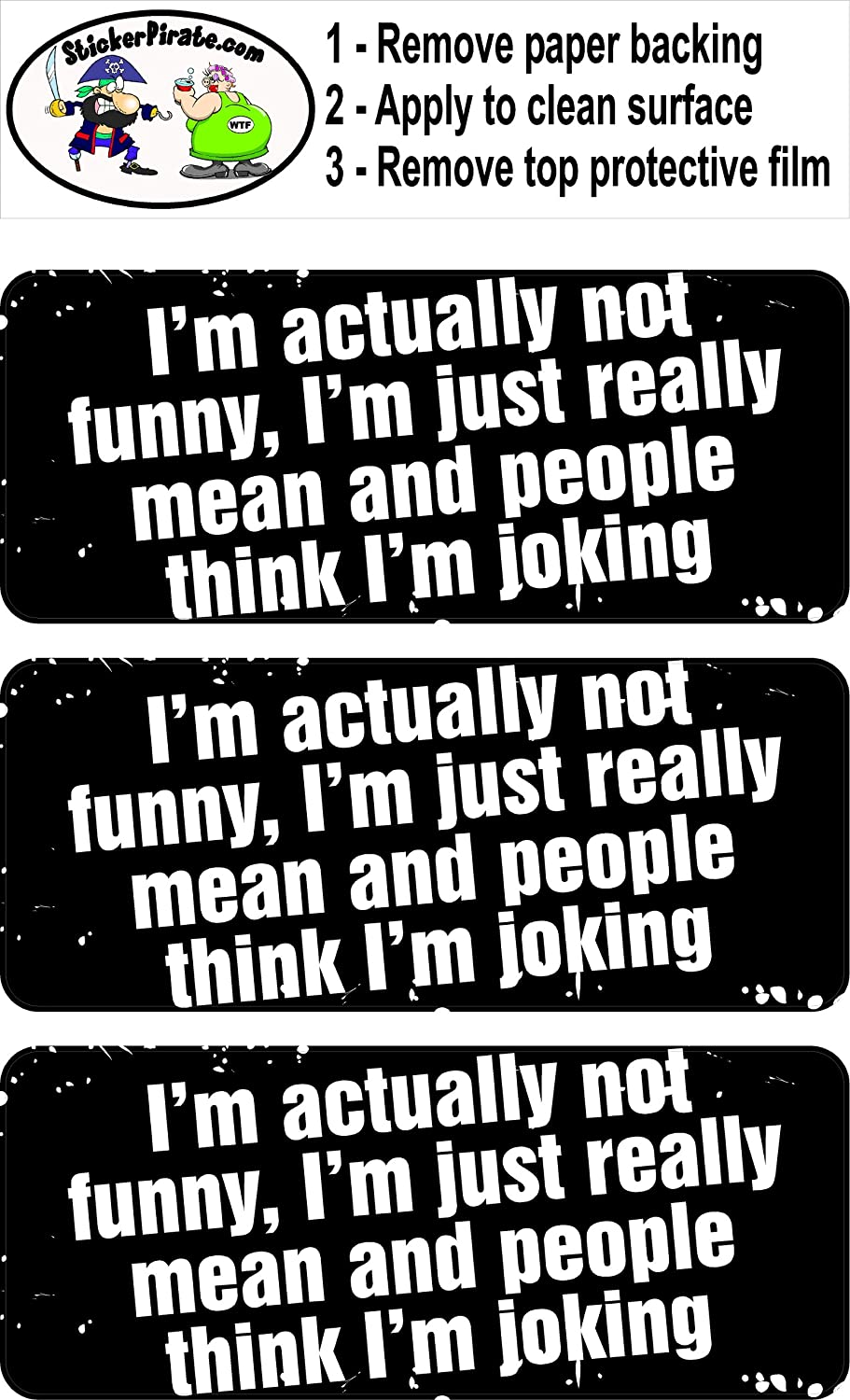 I/'m Actually Not Funny I/'m Just Really Mean and People Think I/'m Joking 1 1//4 x 3 Hard Hat Biker Helmet Stickers Bs275 3