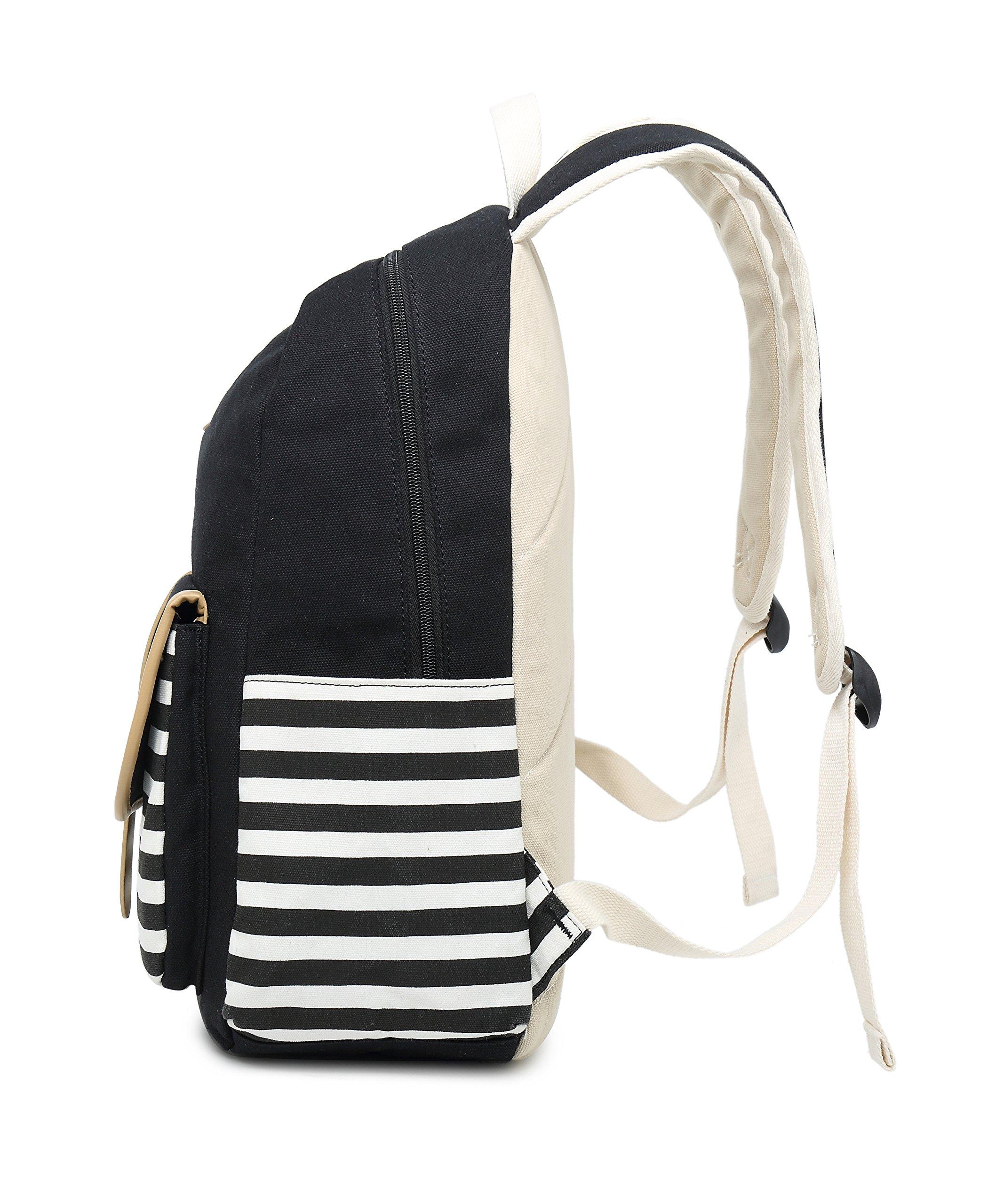 School Backpack for Girls, Gazigo Womens High School College Bookbags Laptop Bag (Black) by Gazigo (Image #4)