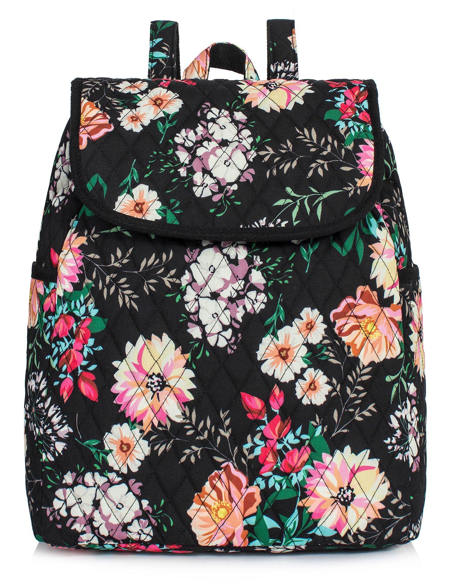 Backpack for Teenage Girls, Floral College Student School School Canvas Bag Knapsack