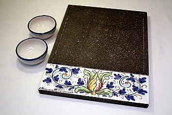 "Lava Style Barbacoa Set ""caltagi rone, plancha + DIP – Bol blau"