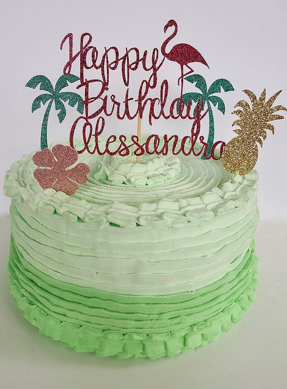 Amazon Hawaiian Flamingo Birthday Cake Topper Handmade