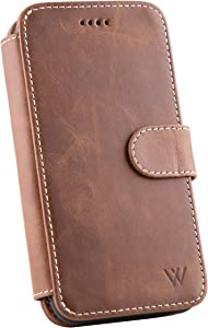 Wilken iPhone X | XS Leather Wallet with Detachable Phone Case | Wireless Charging Compatible | Top Grain Cowhide Leather | Brown