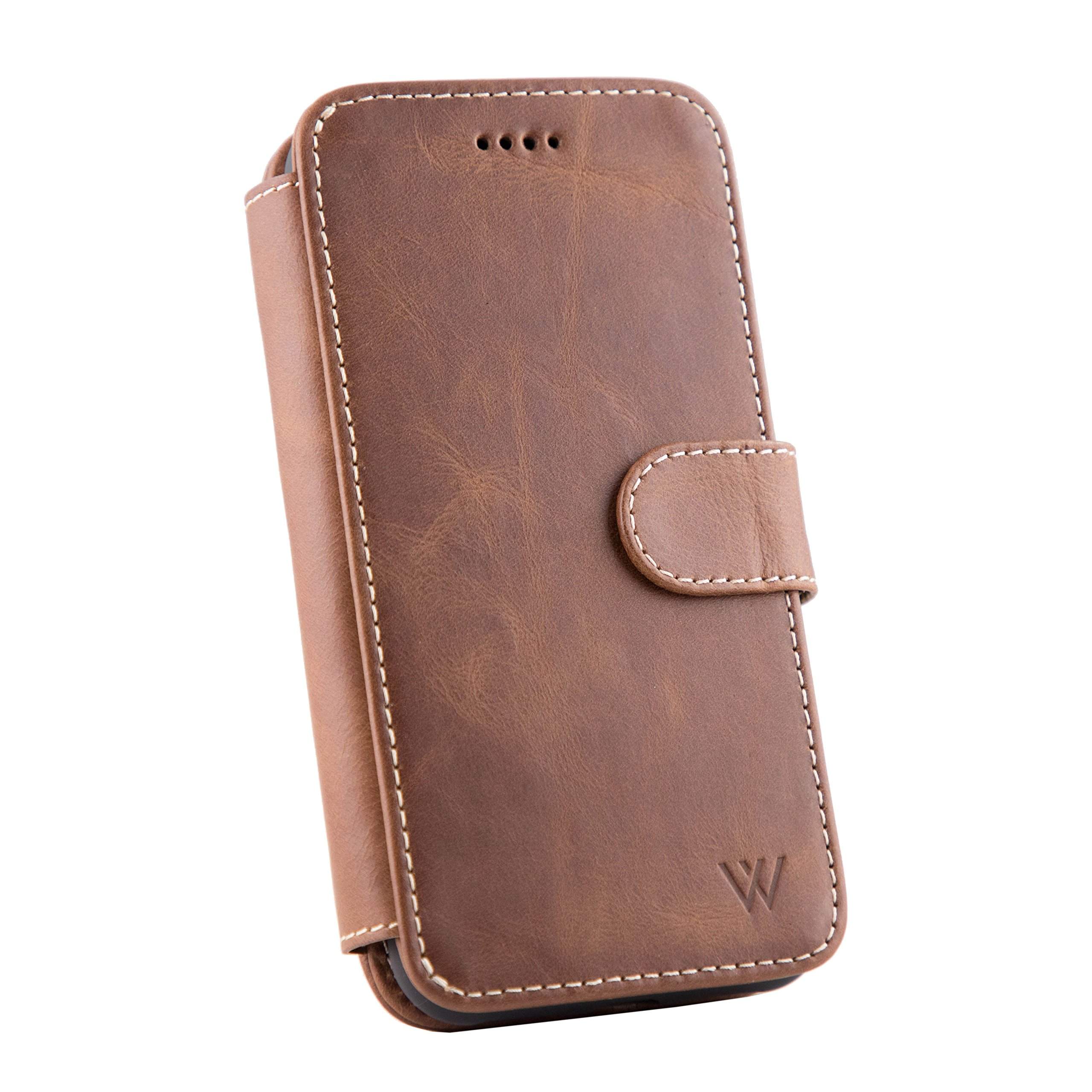 Wilken iPhone Xs Max Leather Wallet with Detachable Phone Case | Wireless Charging Compatible | Top Grain Cowhide Leather | (Brown, XS Max) by W WILKEN