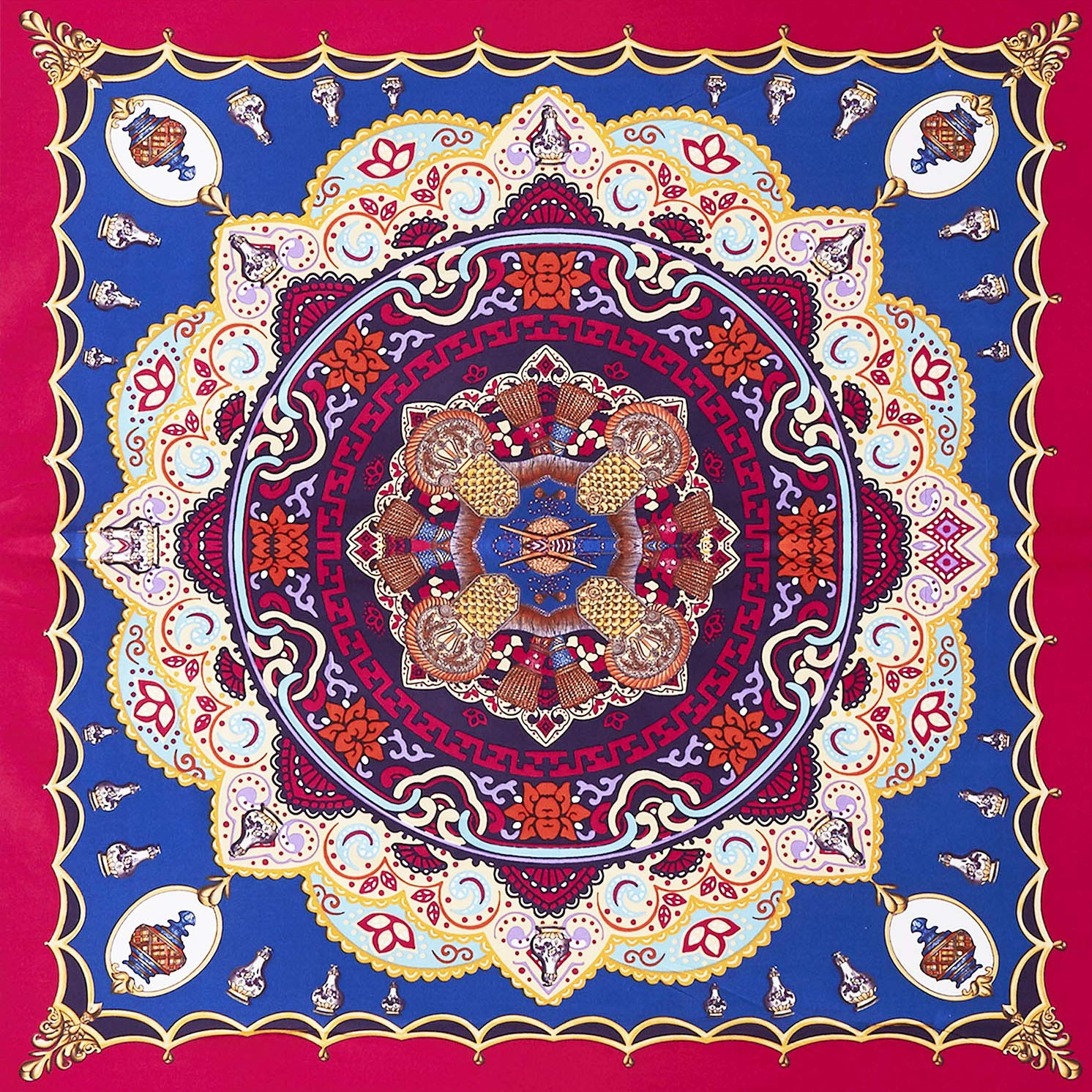 Wake In Cloud - Mandala Comforter Set, Orange Bohemian Boho Chic Medallion Pattern Printed, Soft Microfiber Bedding (3pcs, King Size) by Wake In Cloud (Image #2)