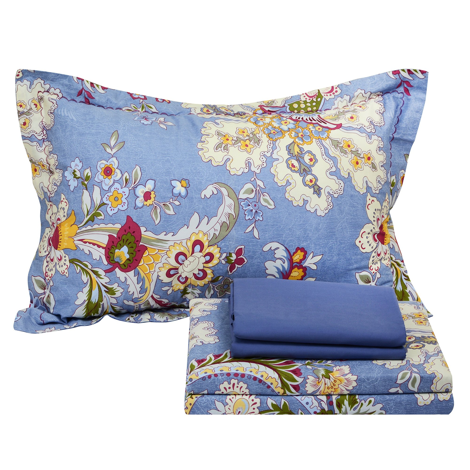FADFAY Light Purple Bedding Set Paisley Cotton Bedroom Set 4-Piece Queen Size