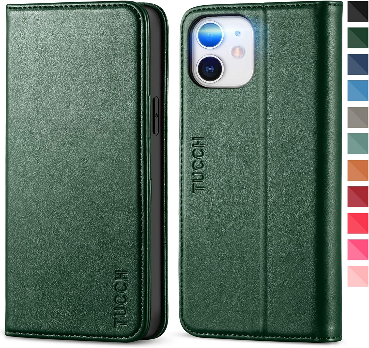 TUCCH Case for iPhone 12/iPhone 12 Pro 5G, PU Leather Folio Case Wallet with Card Slot, Kickstand Book Design [Shockproof TPU Interior Case] Compatible with iPhone 12 Pro/12 6.1-inch, Midnight Green