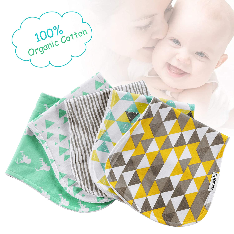 AiKiddo - Paños para bebés (5 unidades, triple capa, 100% algodón orgánico, grueso, suave y absorbente, para recién nacidos, para regalo de ducha de bebé): ...