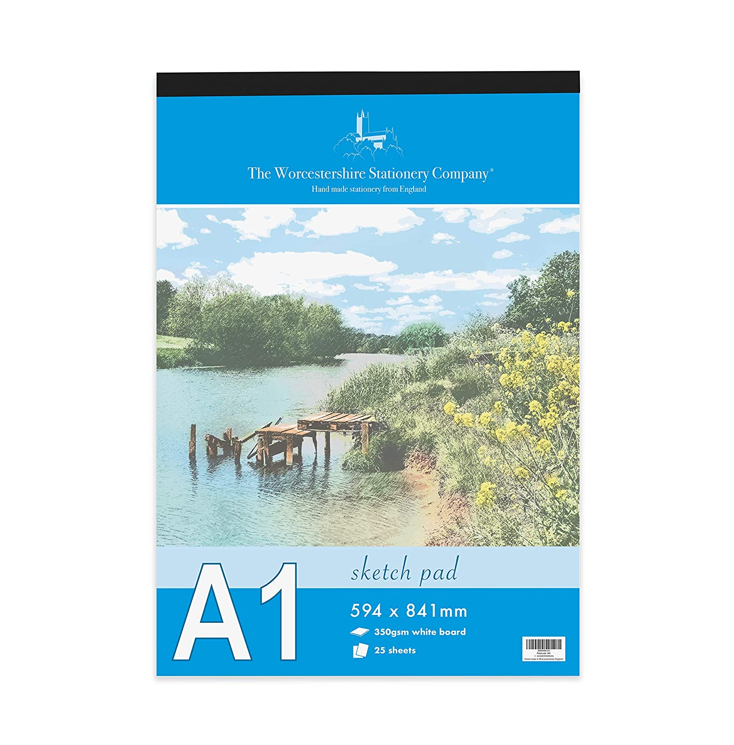 Artists Premium A4 Sketch pad, 25 Sheets (50 Pages) of 350gsm Smooth White Card The Worcestershire Stationery Company