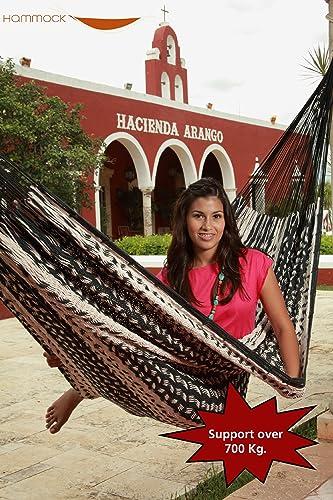 Savannah Large Thick Cord Mayan Hammock Black and Natural, Cotton