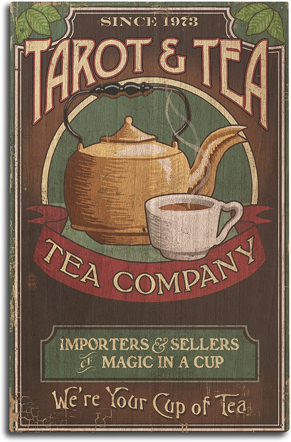 Lantern Press Tarot and Tea - Vintage Sign (10x15 Wood Wall Sign, Wall Decor Ready to Hang)