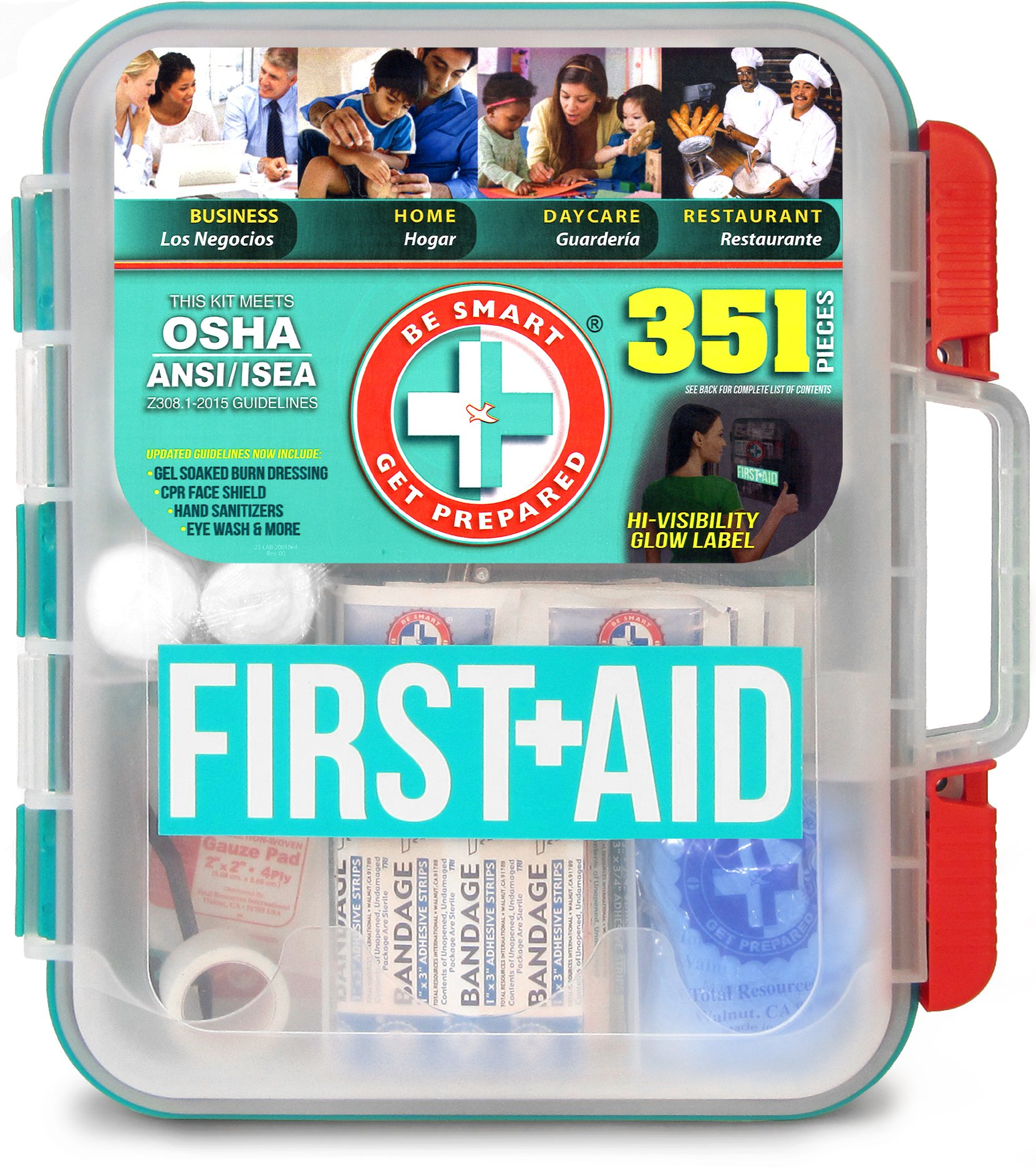 Be Smart Get Prepared The Original 351 Piece First Aid Kit - Exceeds OSHA ANSI/ISEA 2015 Standards for 100 People - Workplace, Home, Car, School, Emergency, Survival, Camping, Hunting, and Sports.
