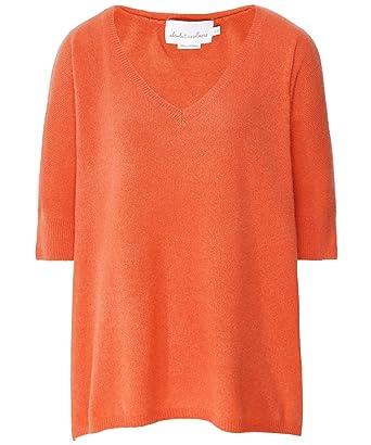 9566b03d4ca863 Absolut Cashmere Women's Cashmere V-Neck Batwing Sleeve Jumper Orange:  Amazon.co.uk: Clothing