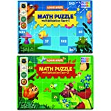 Logic Roots Multiplication Puzzles - Pack of 2 Math Games, Multiplication Table 2-9 Practice, STEM Toys for 7 - 9 Year Olds,