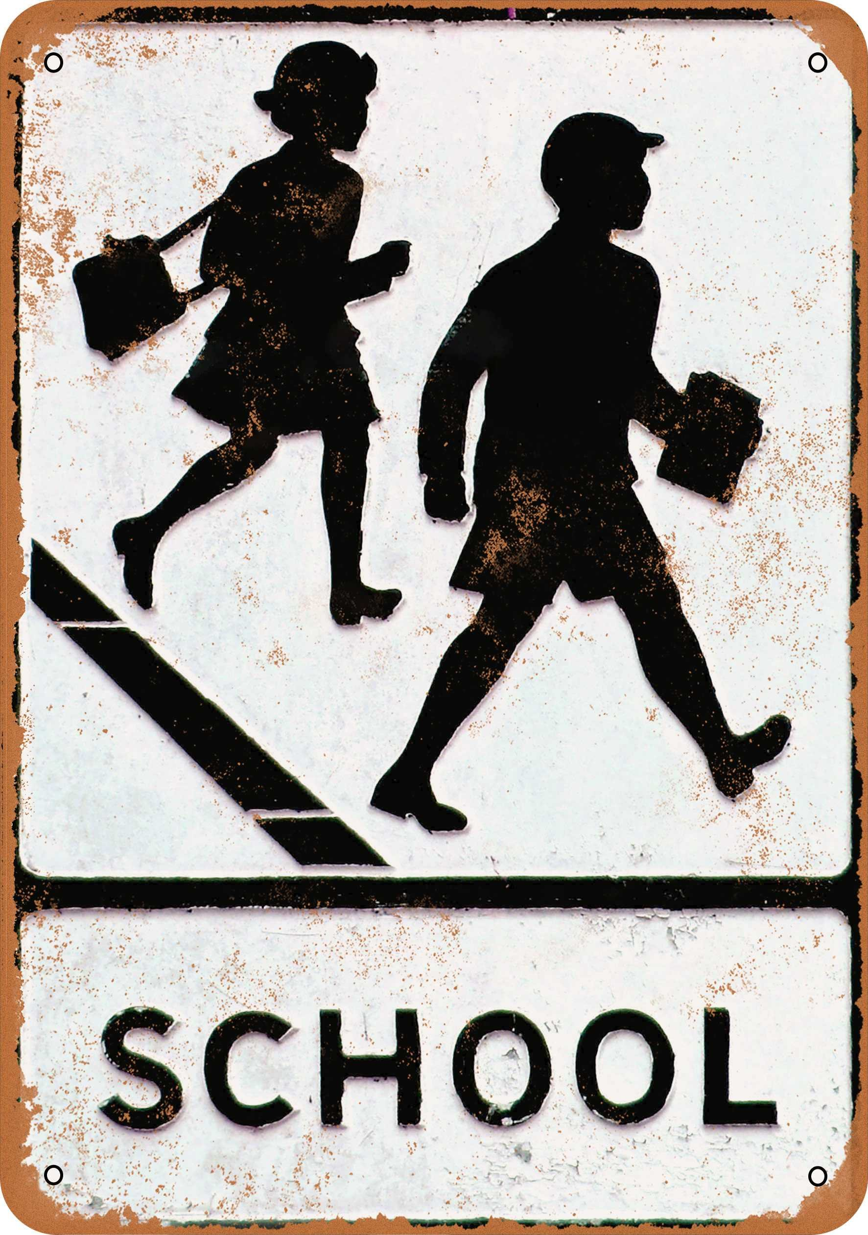 Wall-Color 7 x 10 METAL SIGN - School Crossing - Vintage Look Reproduction
