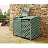 Double Wheelie Bin Store Outdoor Cover Recycling Storage Hinged Lid Wooden Green
