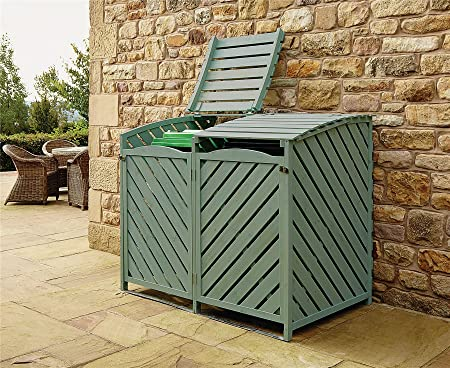 Awesome Bergman Double Wheelie Bin Store Outdoor Cover Recycling Storage Hinged Lid  Wooden Green