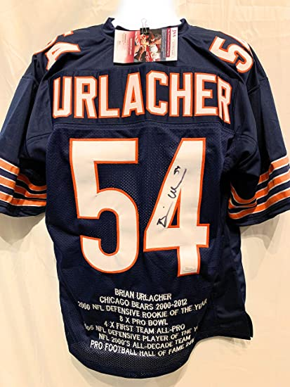 3029562721da9e Brian Urlacher Chicago Bears Signed Autograph Blue Custom Embroidered Stat  Jersey JSA Witnessed Certified