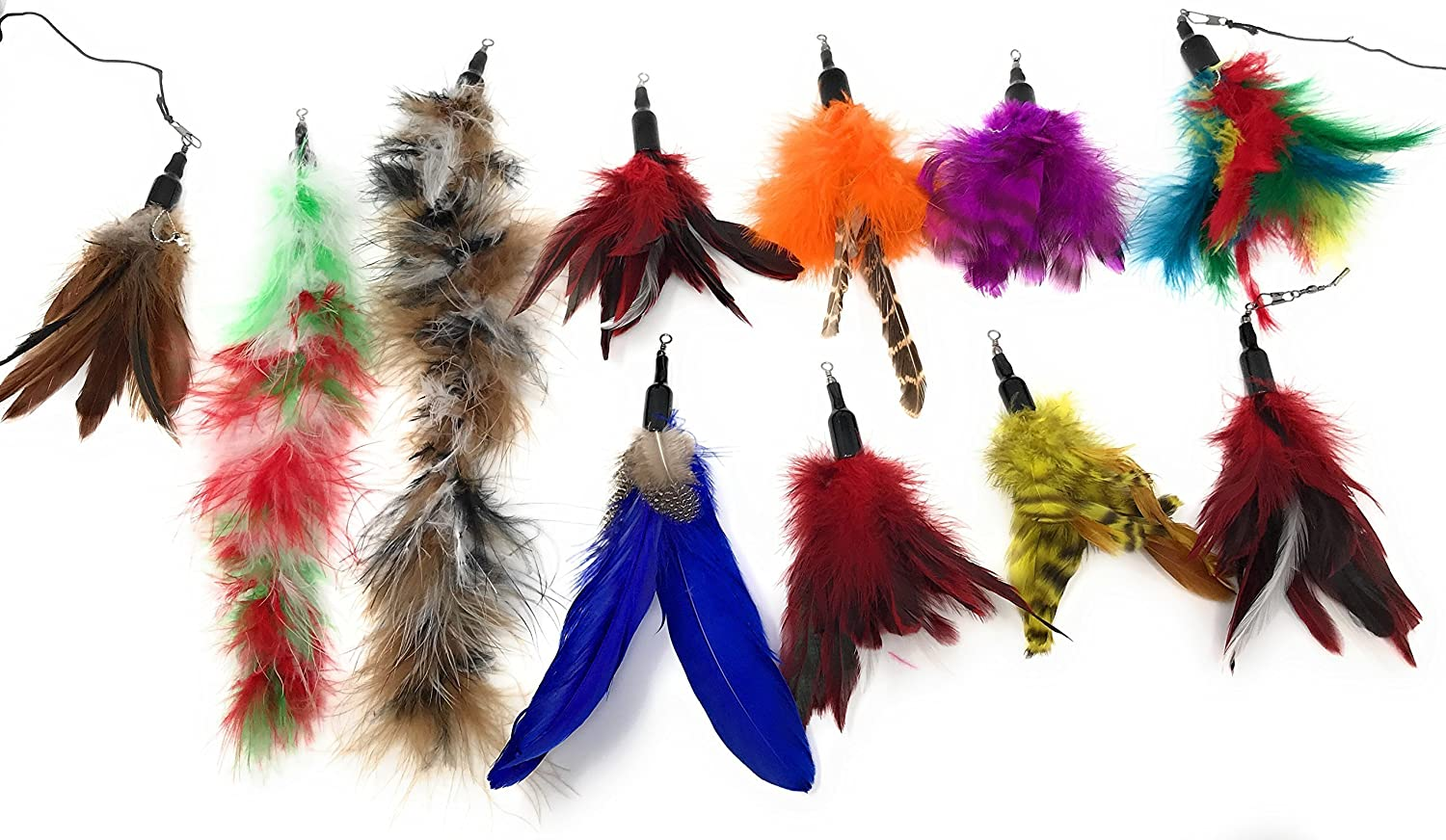 Amazon.com : Cat Feather Toy Cat Teaser Wands Interactive Toys For Kitty Retractable Fishing Rod - Natural Feather Refills With Teaser Wand-14 Pcs Cat Pet ...