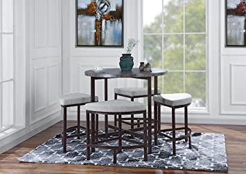 Round Table With 4 Matching Chairs, 5 Piece Kitchen Dining Set (Grey)