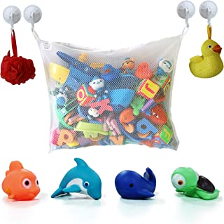 COSY ANGEL Baby Bath Toy Storage Bag for Bath Toys Large Toddlers Bathroom Organiser Net with 4 Suction Cups Hooks and 4 Bath Toys for Baby Bath