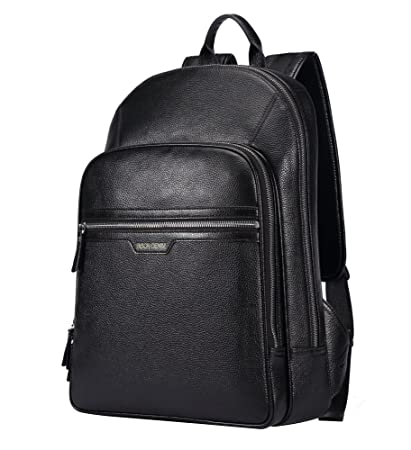 b3200bc45668 BISON DENIM Classic School Laptop Backpack Genuine Leather Book Bag College  Travel Hiking Daypack Black Fit 14 in Laptop