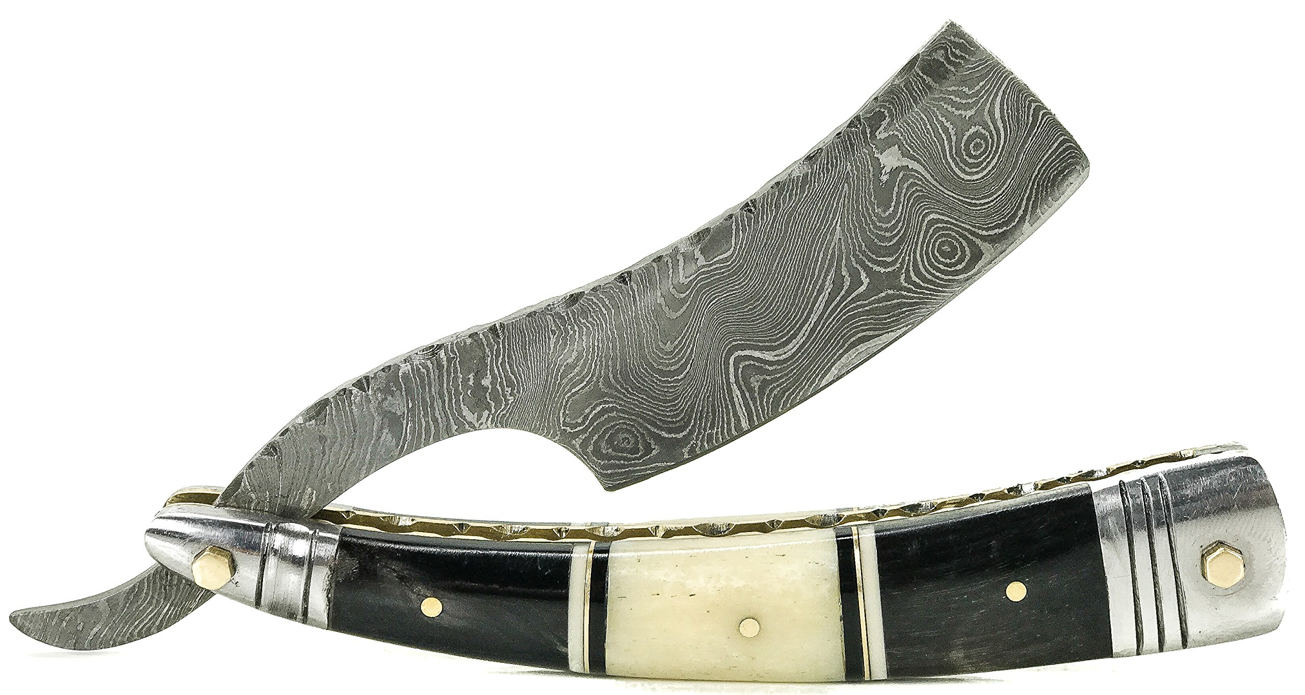 Gibson Handcrafted Luxury Damascus Straight Razor Black and White