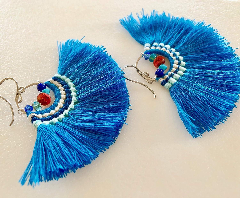Tassle earrings Blue tassel earrings Blue long earrings Blue earrings Graduation earrings Long boho earrings Shine earrings Blue tassels