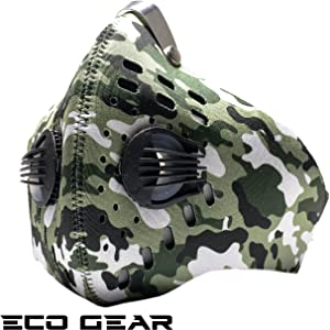 ECO-GEAR Anti Pollution Face Mask with Military Grade N95 Protection   Anti Smoke, Exhaust Gas, Dust, Pollen, Allergens   Hiking, Running, Walking, Cycling, Ski and Other Outdoor Activities